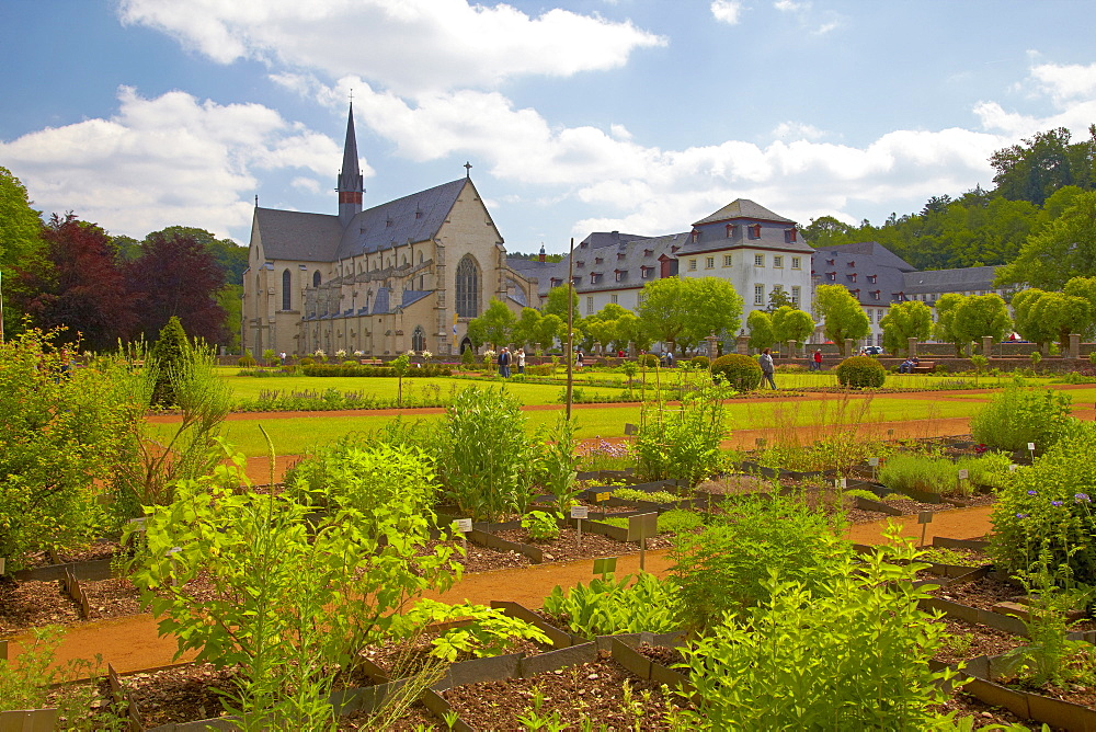 View across the herbal garden at Abtei Marienstatt (13th century), Nistertal, Streithausen, Westerwald, Rhineland-Palatinate, Germany, Europe