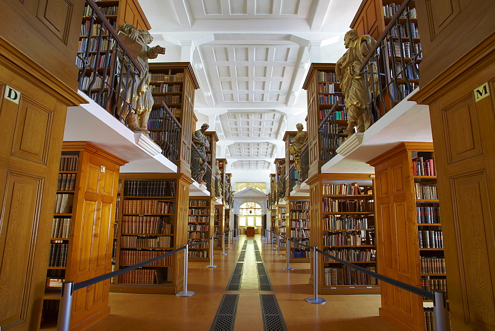 Library in Abtei Marienstatt (13th century), Nistertal, Streithausen, Westerwald, Rhineland-Palatinate, Germany, Europe