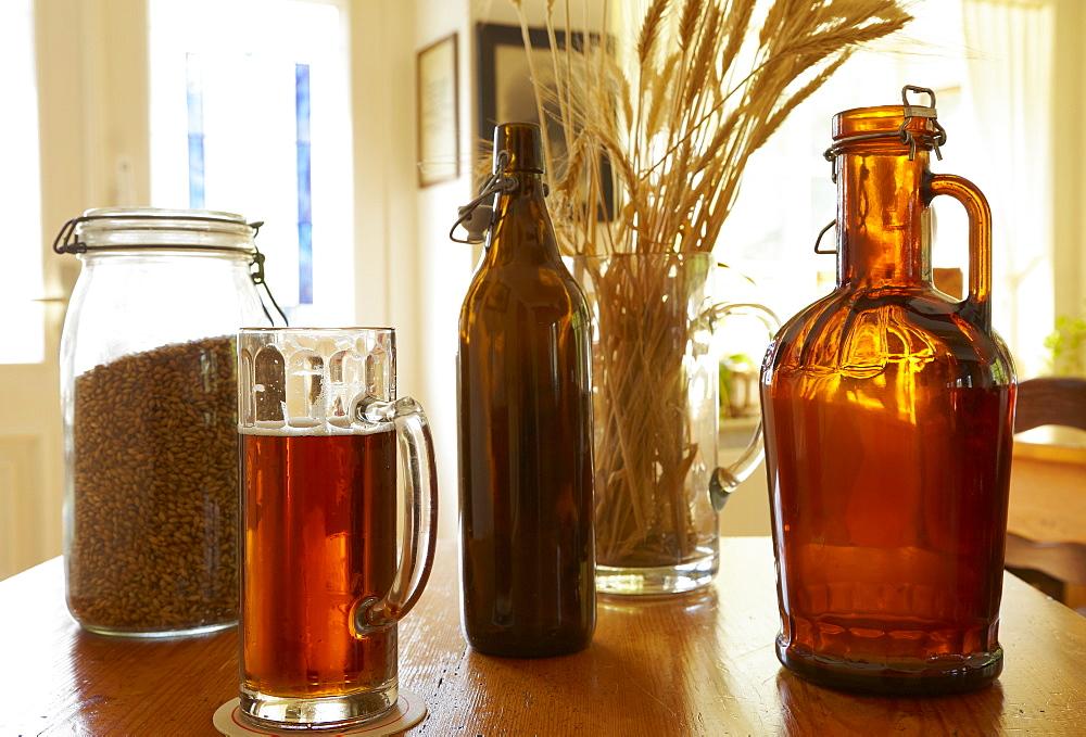 Bottles of beer in the brewery, Marienstatter Brauhaus, Still life, Abtei Marienstatt, Nistertal, Streithausen, Westerwald, Rhineland-Palatinate, Germany, Europe