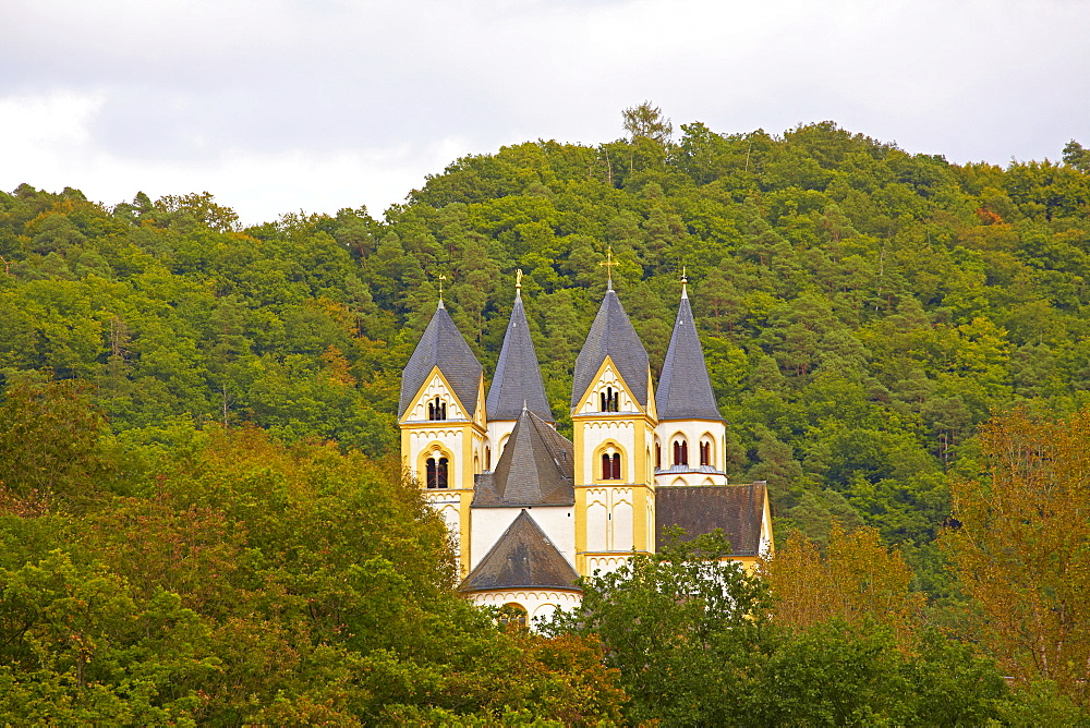Arnstein abbey above the river Lahn near Nassau, Westerwald, Rhineland-Palatinate, Germany, Europe