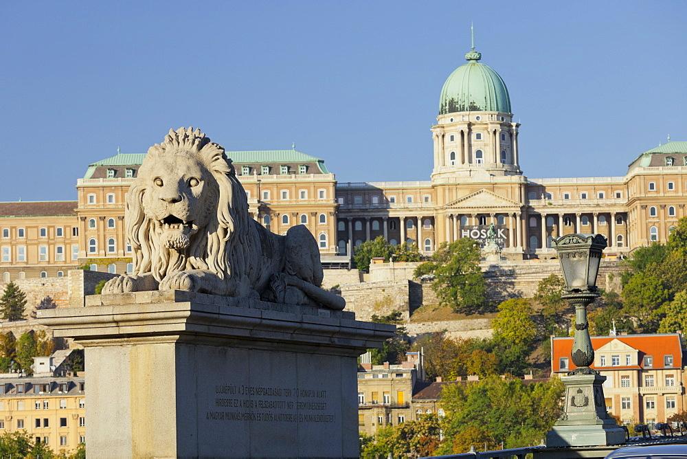 Lion statue, Chain Bridge, Buda Castle, Budapest, Hungary