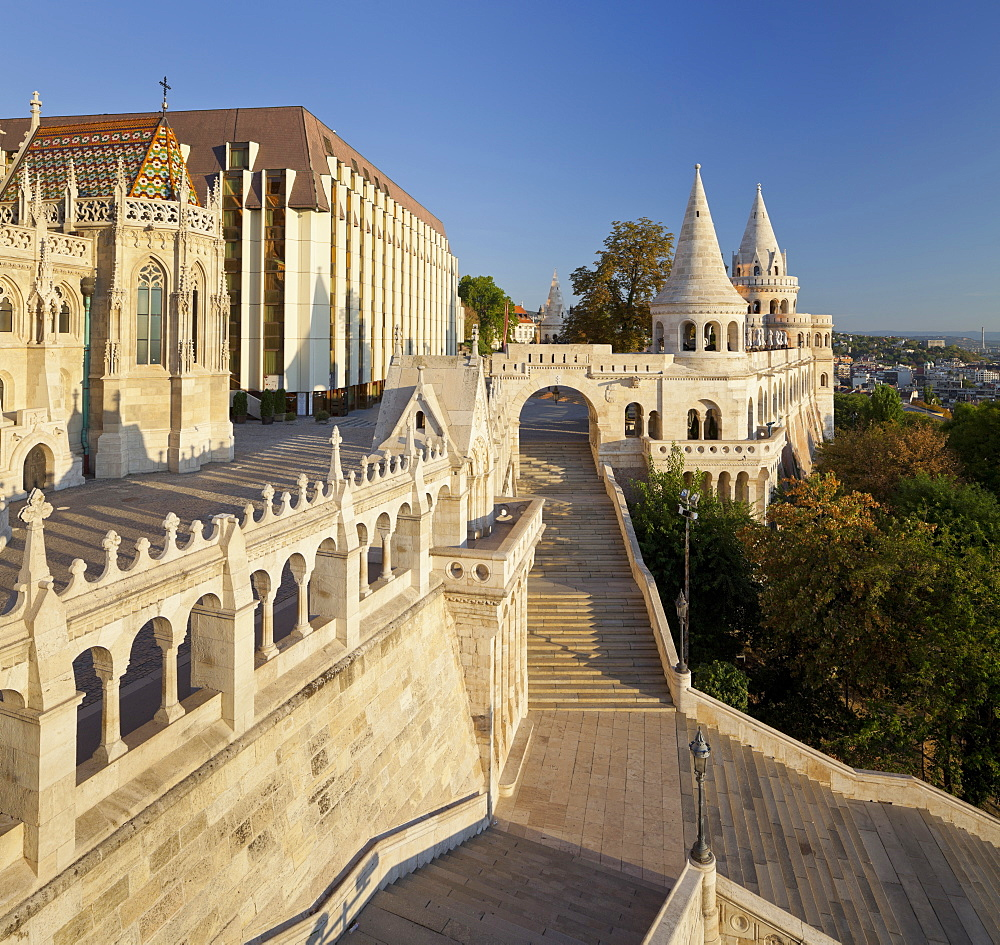 Fishermans Bastion with staircase, Buda, Budapest, Hungary