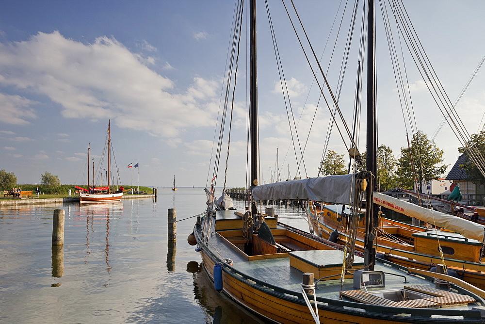 Althagen harbour with sailing boat, Zeesenboot, Ahrenshoop, Barther Bodden, Mecklenburg-Western Pomerania, Germany