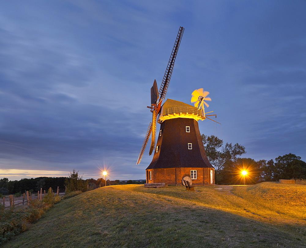 Illuminated windmills in Stove, Mecklenburg-Western Pomerania, Germany