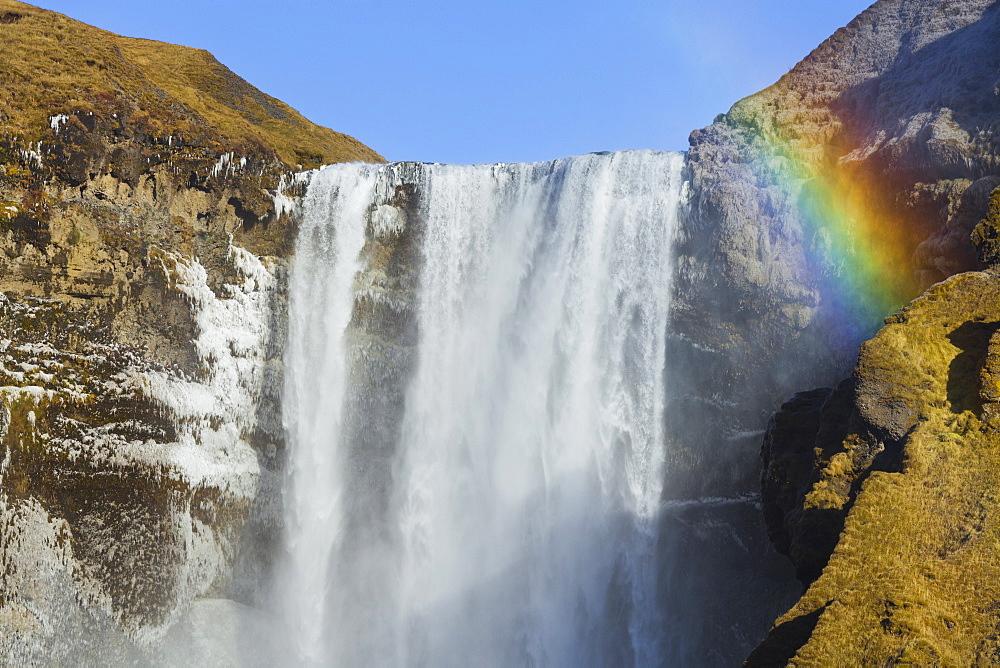 Skogafoss waterfall with rainbow, Skogar, East Iceland, Iceland