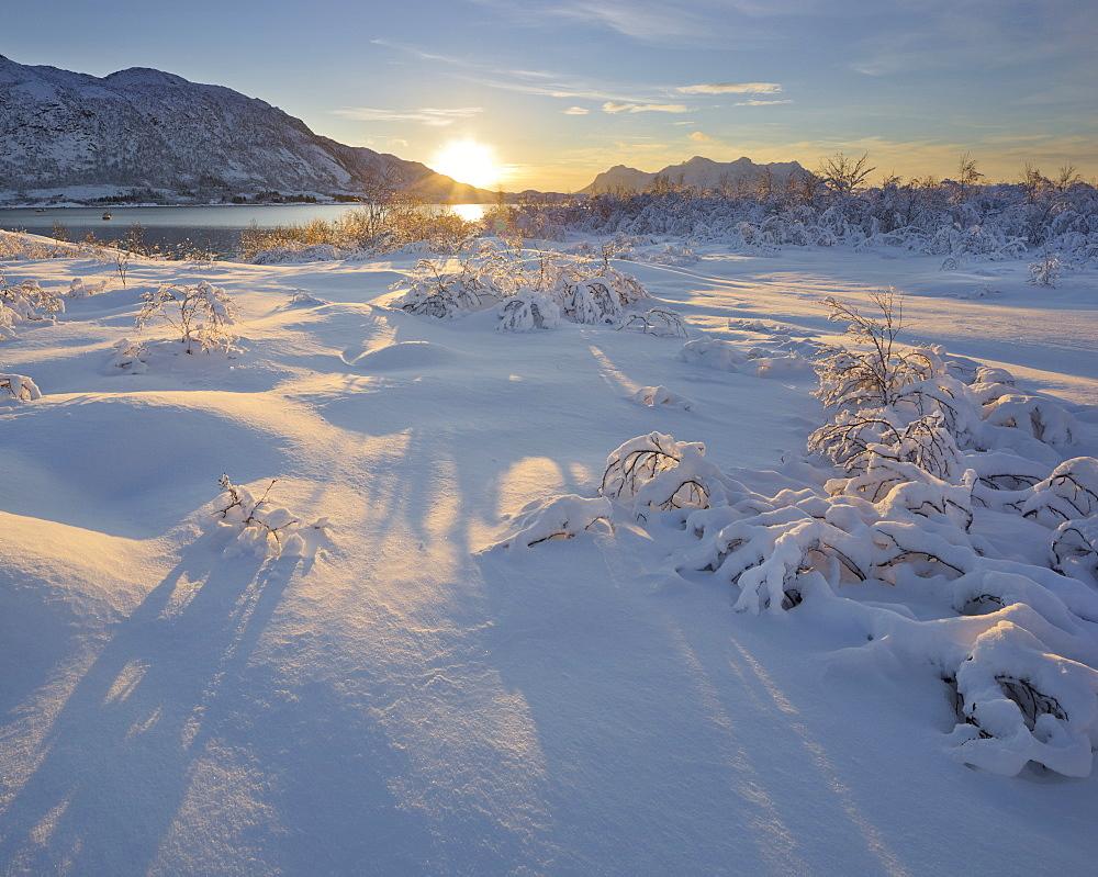 Snowy landscape at Austnesfjorden, Austvagoya, Lofoten, Nordland, Norway