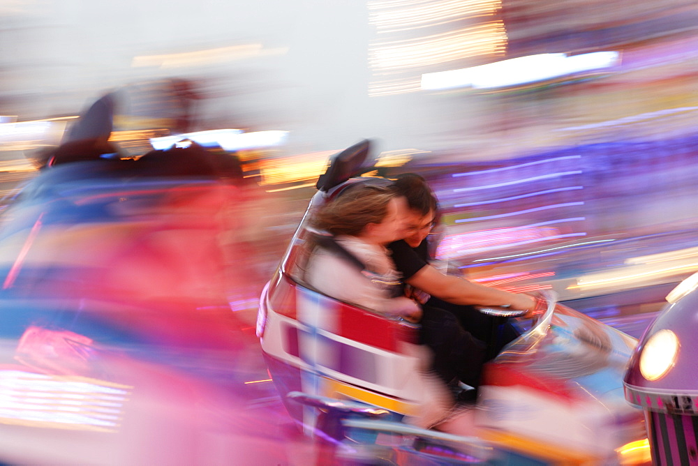 People at Carnival ride in the evening, Oktoberfest, Munich, Bavaria, Germany - 1113-992