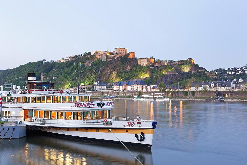 Ehrenbreitstein fortress on the river Rhine in Koblenz, Rheinland-Pfalz, Germany
