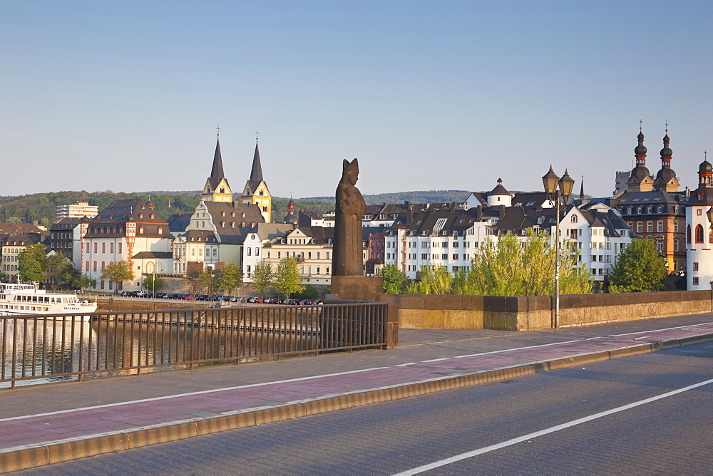 Balduin bridge with a statue of Balduin of Luxembourg, Koblenz, Rheinland-Pfalz, Germany
