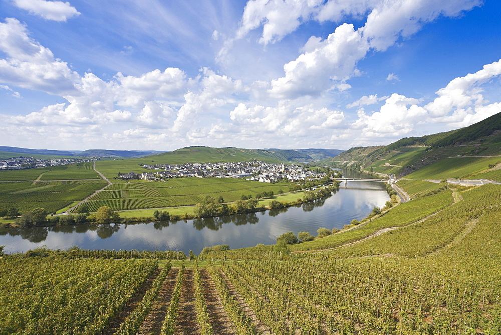 The Moselle bend, Moselschleife near Trittenheim, Rheinland-Pfalz, Germany