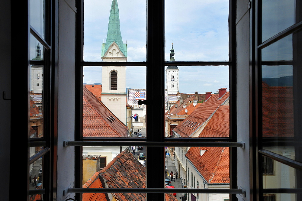 View from the old tower towards upper town, Zagreb, Croatia