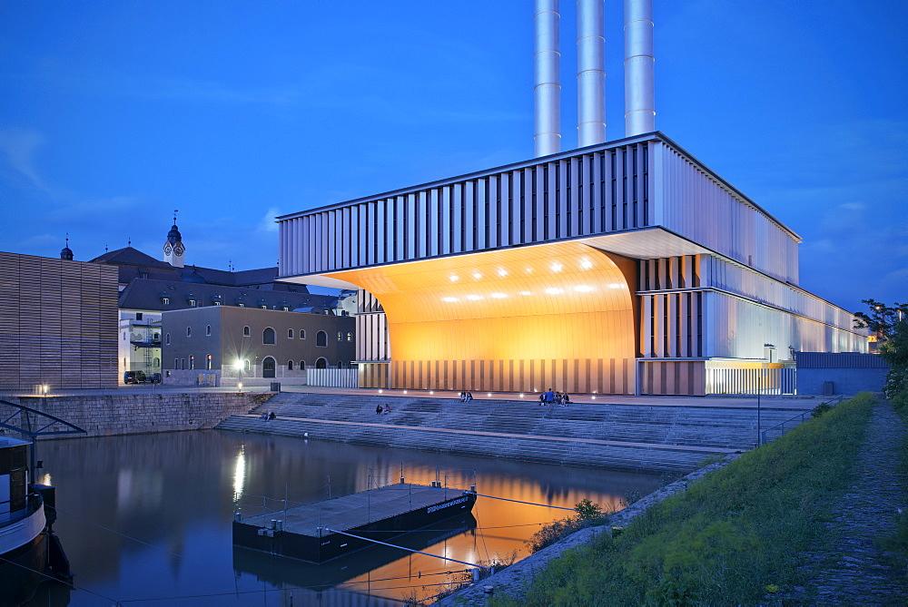 Heating plant at night, Wuerzburg, Franconia, Bavaria, Germany, architect Brueckner and Brueckner