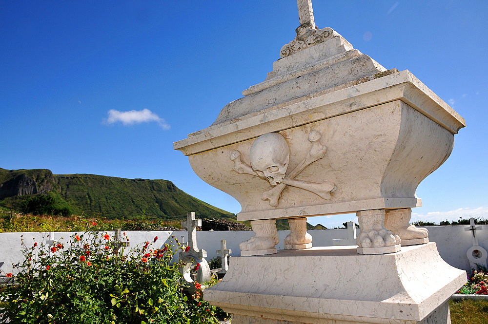Grave of a pirate in Mosteiros, Southwest coast, Island of Flores, Azores, Portugal