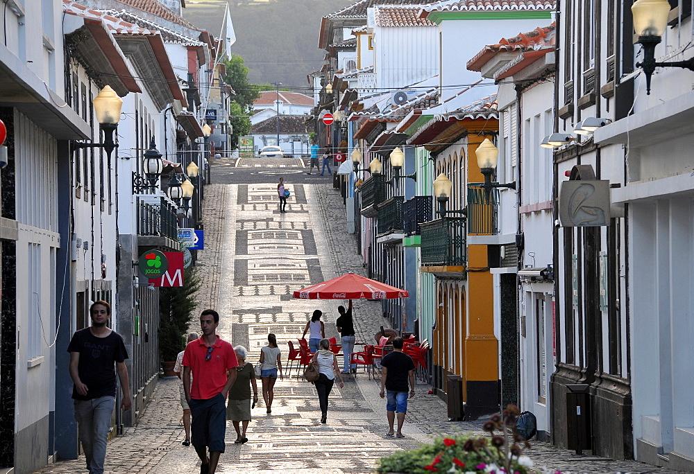 Pedestrian zone in Praia da Vitoria, Island of Terceira, Azores, Portugal