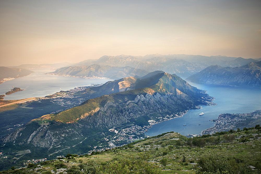 panoramic view of Kotor and the bay of Kotor, Adriatic coastline, Montenegro, Western Balkan, Europe, UNESCO