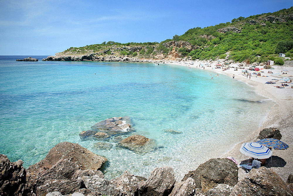 Crystal clear water at the beach at Petrovac near Budva, Adriatic coastline, Montenegro, Western Balkan, Europe
