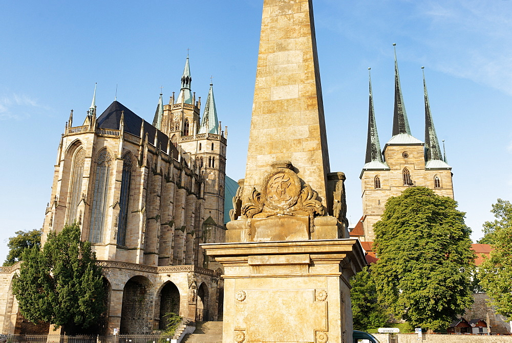 Erfurt Cathedral and Severi Church, Domplatz, Erfurt, Thuringia, Germany
