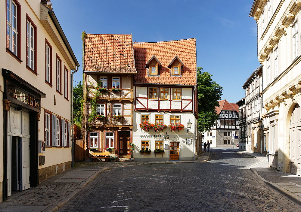 Half-timbered houses in Hohe Strasse, Quedlinburg, Saxony-Anhalt, Germany