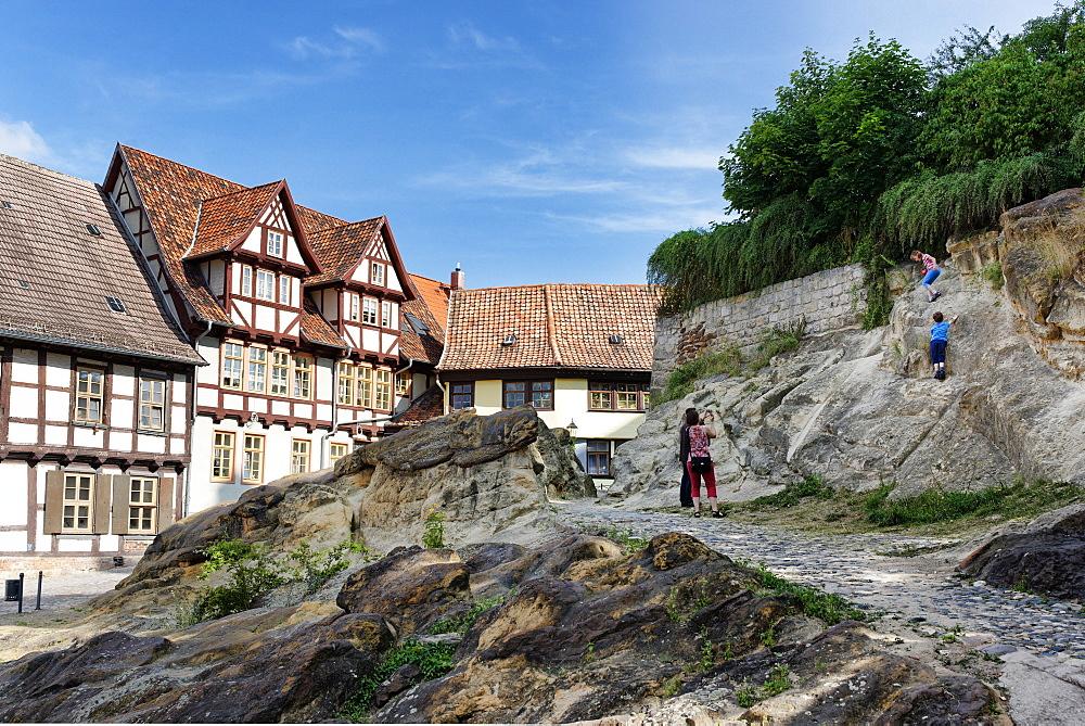 Castle hill of Quedlinburg with Quedlinburg castle, Saxony-Anhalt, Germany