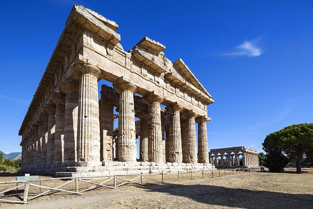 Poseidon Temple, Neptune Temple, Hera Temple in the background, historic town of Paestum in the Gulf of Salerno, Capaccio, Campania, Italy, Europe