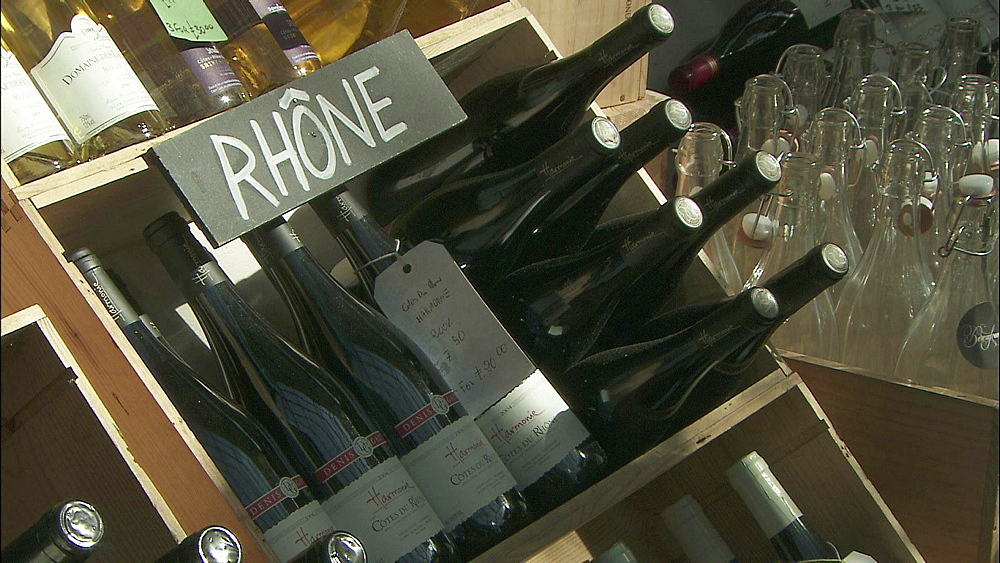 Cote De Rhone Bottles Of Wine In Box With Label Borough Market Southwark