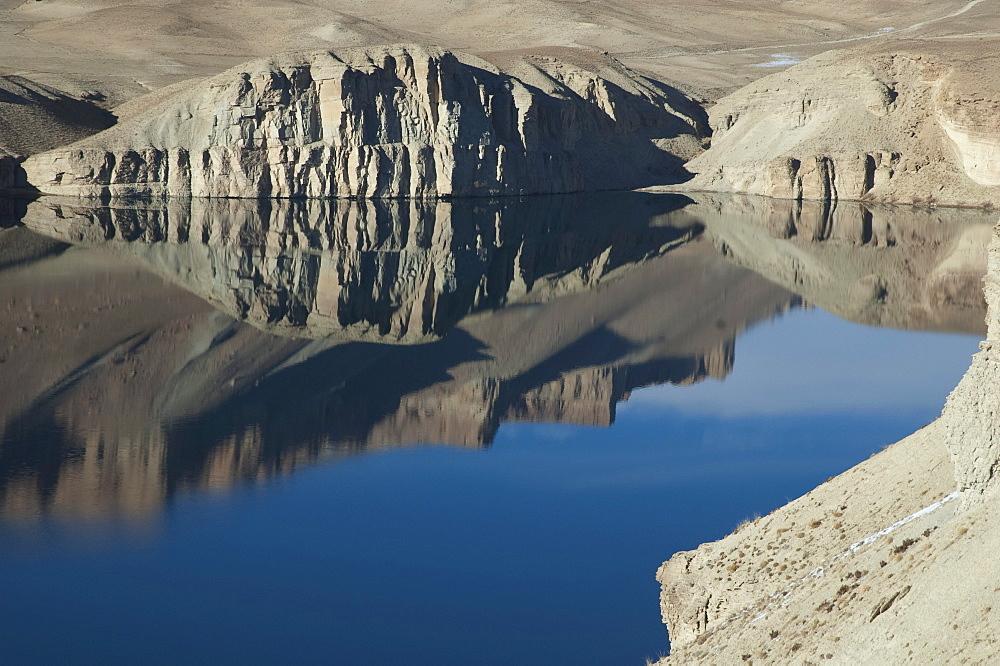 Hindu Kush mountains reflections in Band-i-Haibat (Dam of Awe), Band-i-Amir, Bamian Province, Afghanistan