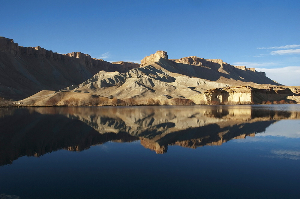 Hindu Kush mountains reflections in Band-i-Haibat (Dam of Awe), Band-i-Amir, Bamian Province, Afghanistan