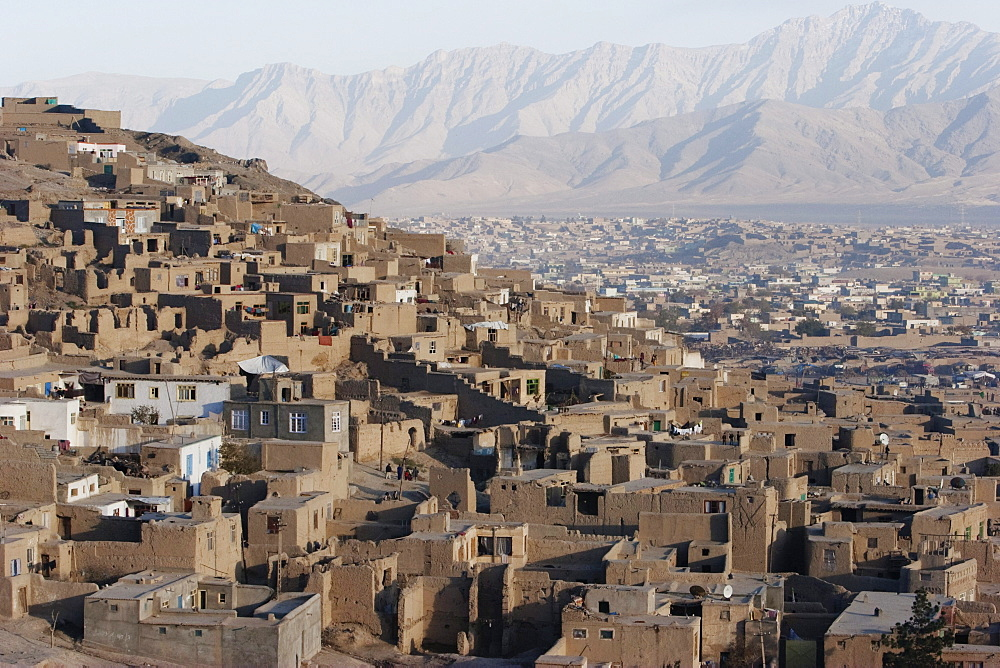 Houses on the Tapa Maranjan Ridge in Kabul,, Afghanistan