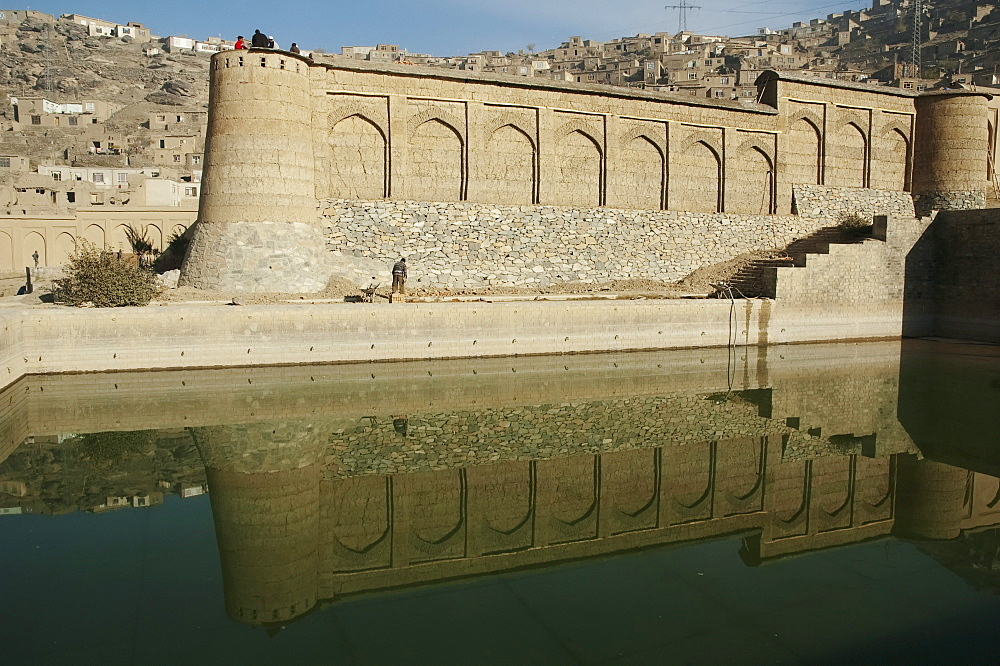 Northern garden walls and upper swimming pool at Bagh-i-Babur Shah (Babur's Garden) - Kabul,, Afghanistan