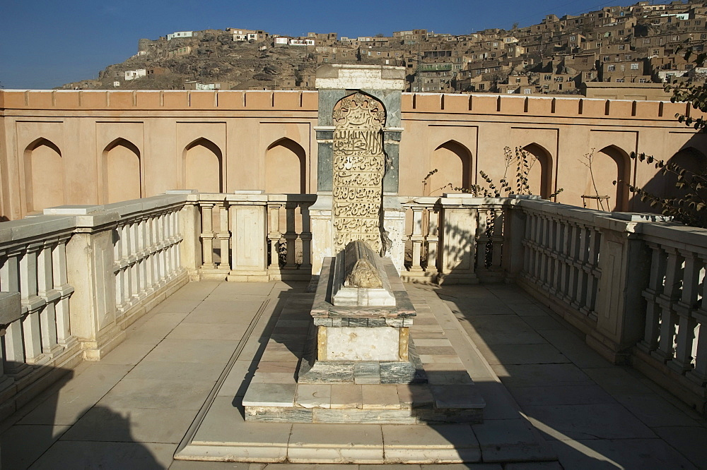Babur's Tomb with the original headstone and a new marble fence after the restoration of Bagh-i-Babur Shah (Babur's Garden) - Kabul,, Afghanistan