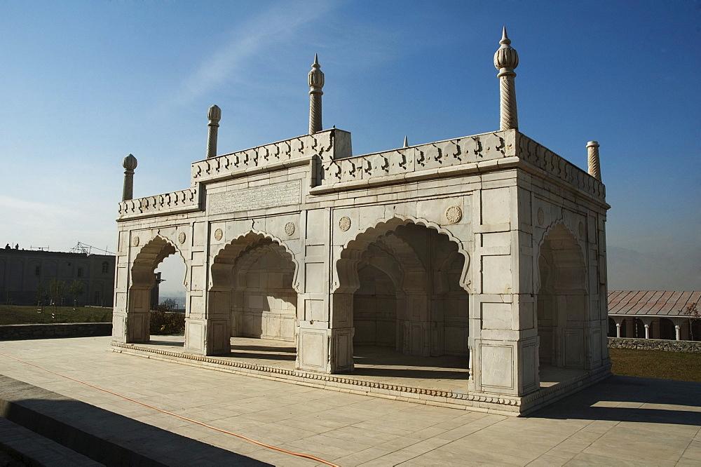 Marble mosque at the Bagh-i-Babur Shah (Babur's Garden) - Kabul,, Afghanistan