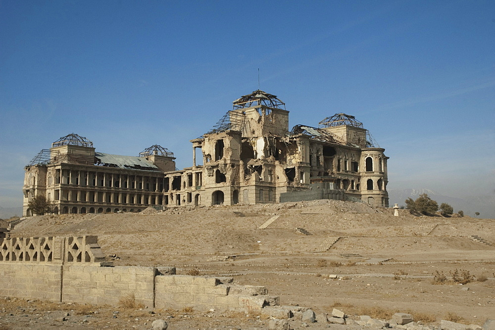 Darulaman Palace was designed for King Amanullah by a French architect in the 1920s; it later became the Defense Ministry, and was the military headquarters during the Russian occupation. .Kabul,, Afghanistan