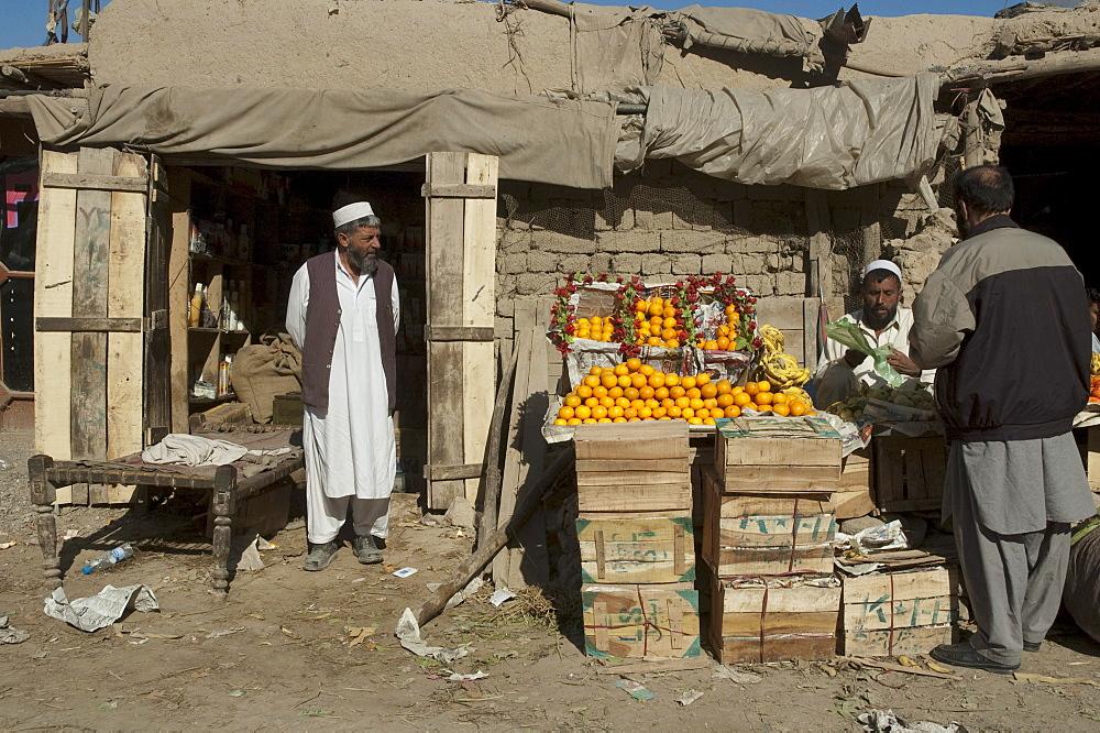 Fruit vendor in Torkham, Nangarhar Province, Afghanistan