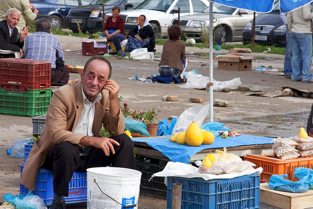 Fruit vendor at the market, Tirana, Albania
