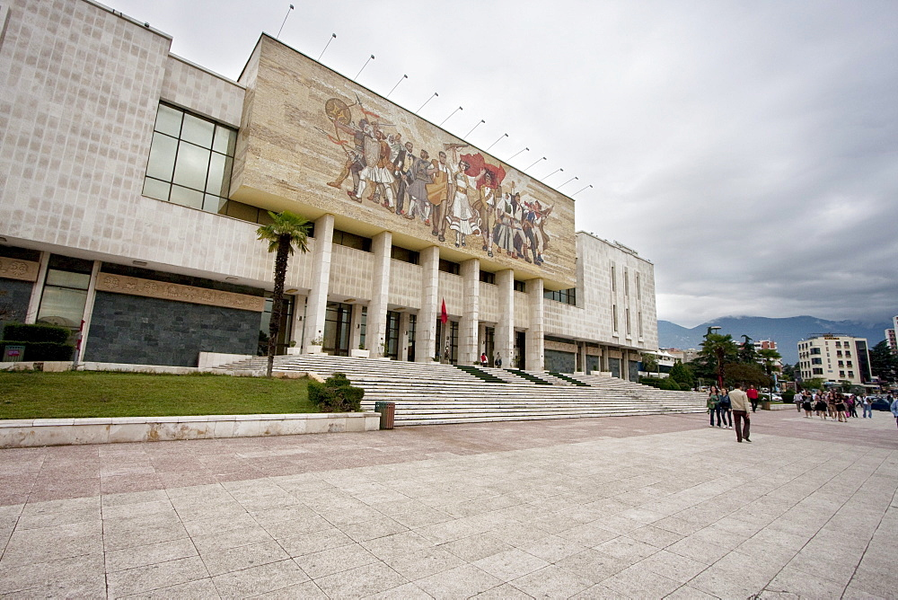 'The Albanians' mosaic on the façade of the National Historical Museum, Tirana, Albania