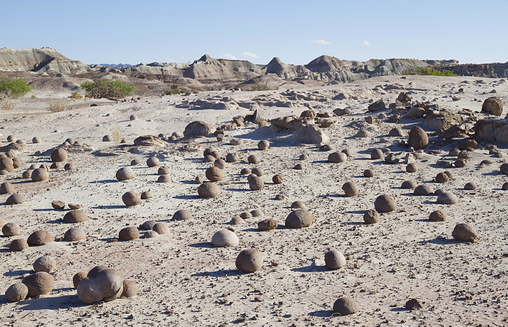 Sand spheres at the Cancha de Bochas, Valle de la Luna (Moon Valley), Ischigualasto Natural Park, San Juan, Argentina
