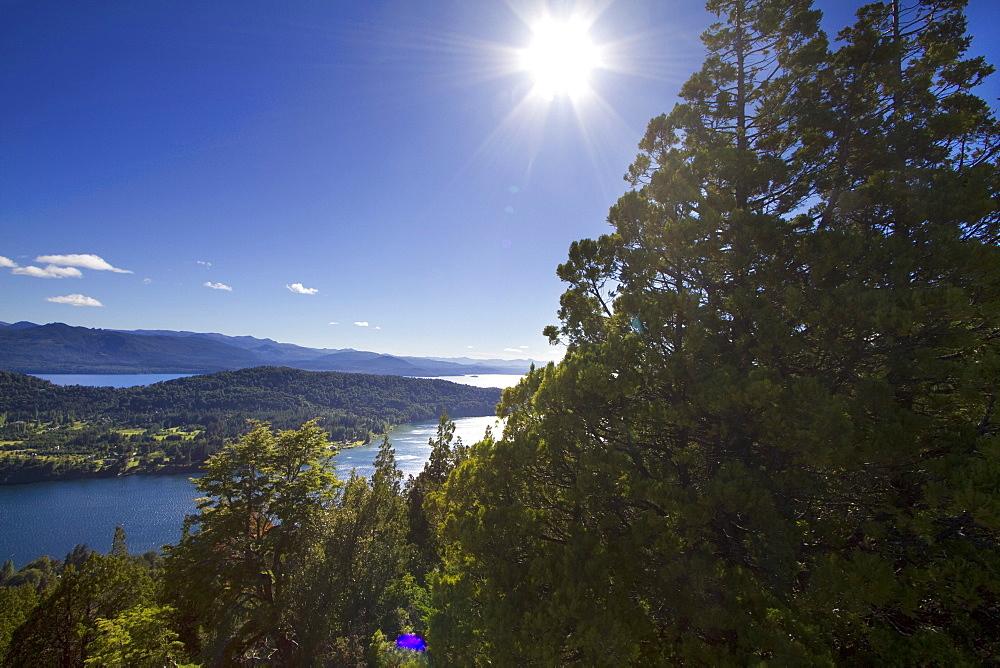 Lago Nahuel Huapi, as seen from Cerro Campanario, San Carlos de Bariloche, Nahuel Huapi National Park, Rio Negro, Argentina