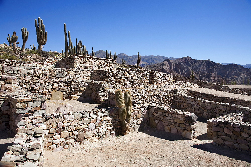 Pircas (stone fences) for llamas at the Pre-Columbian fortification of Pucar√° de Tilcara, Jujuy, Argentina