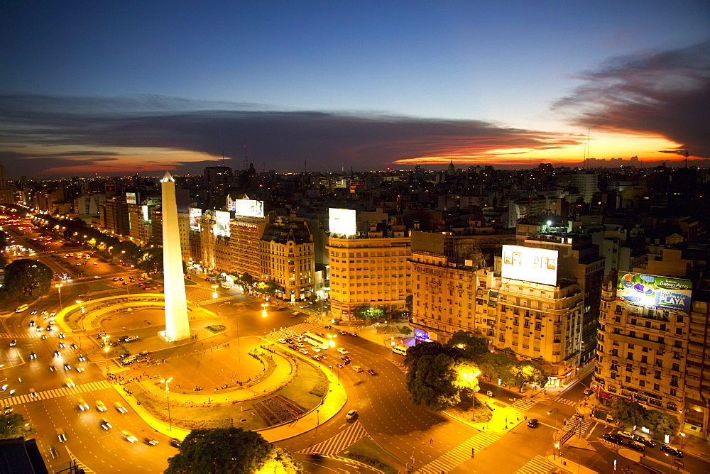 Aerial view of the Obelisk on Avenida 9 de Julio at night, Buenos Aires, Capital Federal, Argentina