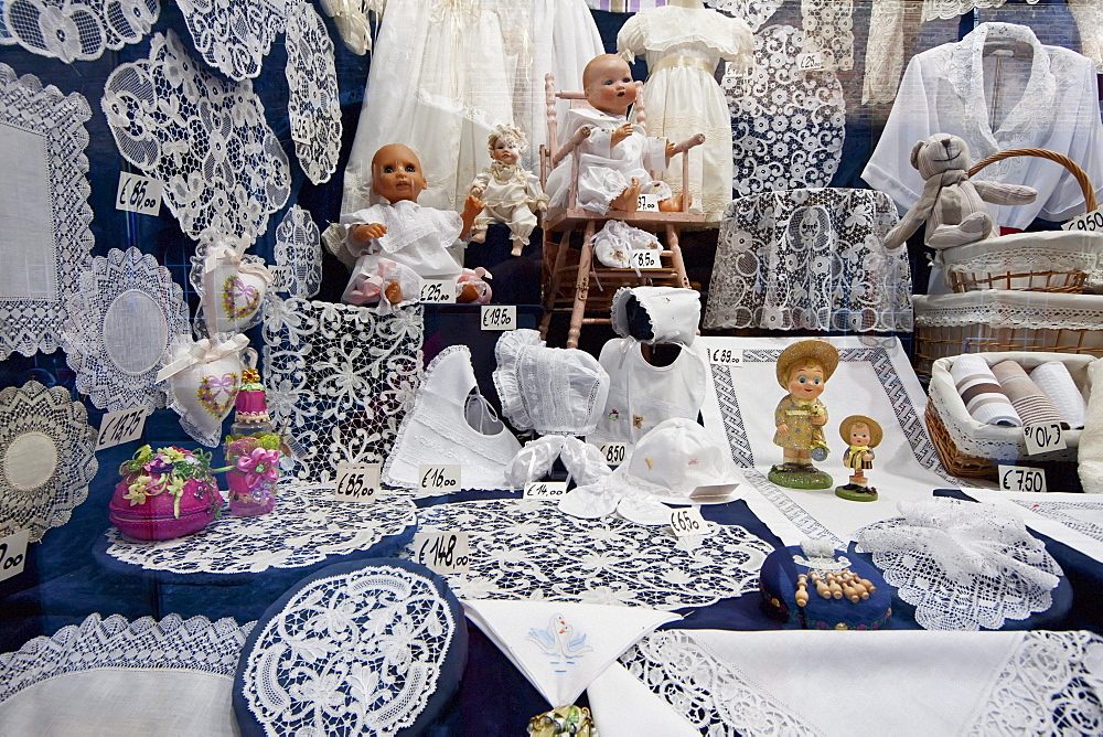 Belgian lace store, Brugge, West Flanders, Belgium