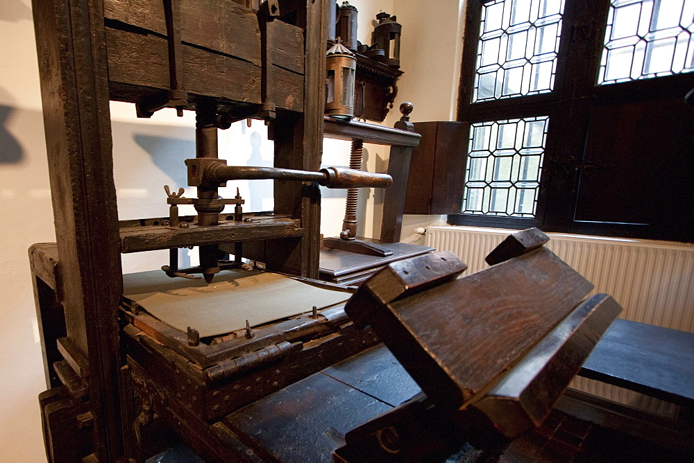 Two of the world's oldest printing presses on display in the printing room of the Plantin-Moretus House-Workshops-Museum, Antwerp, Belgium