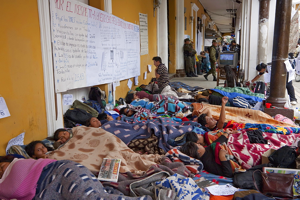 Students staging a hunger strike in front of the Prefectura, Cochabamba, Bolivia