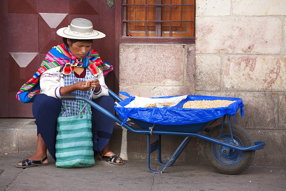 Woman selling chickpeas, Sucre, Chuquisaca Department, Bolivia