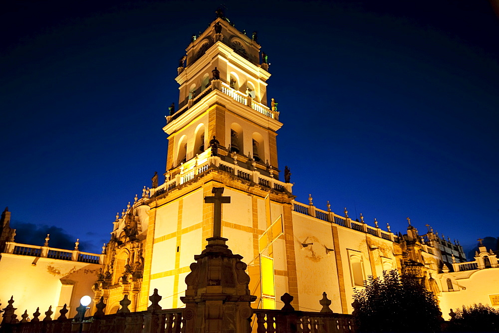 Metropolitan Cathedral at night, Sucre, Chuquisaca Department, Bolivia