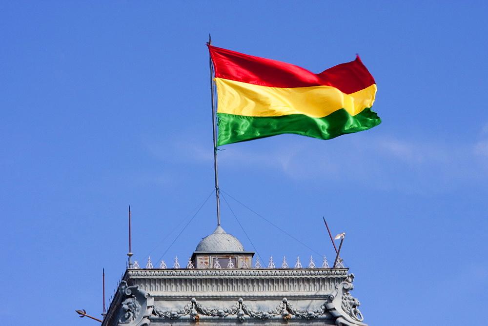 Bolivian flag atop the Government Palace, currently Prefectura del Departamento de Chuquisaca, Sucre, Chuquisaca Department, Bolivia