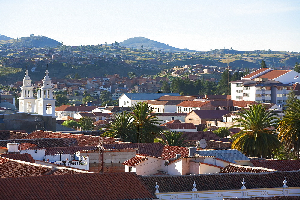 Panoramic view of Sucre from the roofs of the San Felipe Neri Church and Convent, Chuquisaca Department, Bolivia