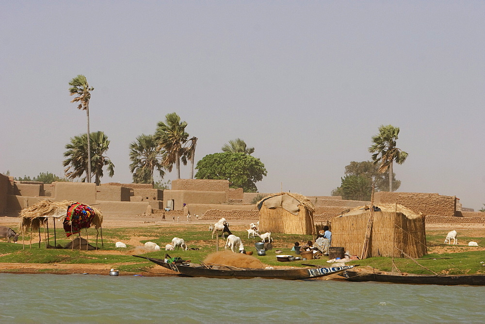 Village along the shores of the Niger River between Mopti and Lake Débo, Mali