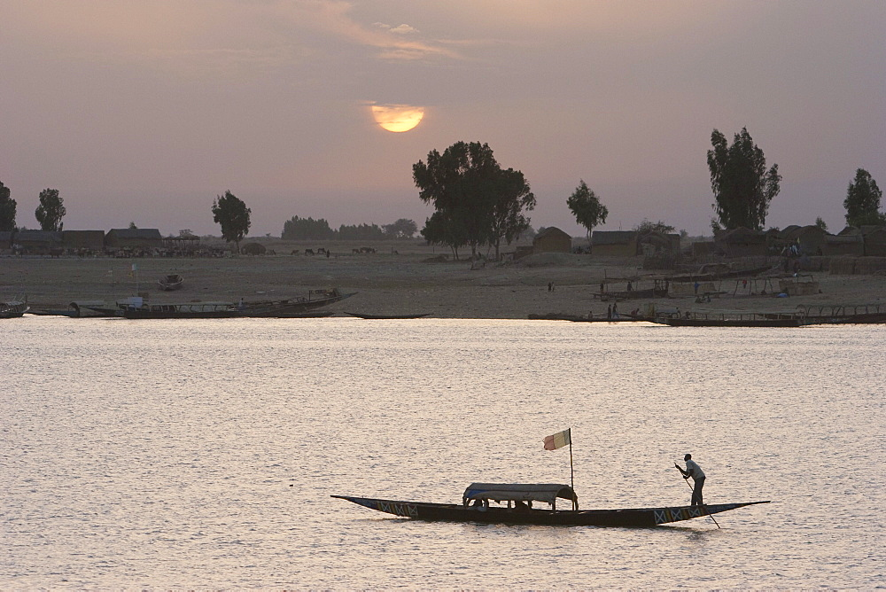 Boat on the Niger River in Mopti, Mali