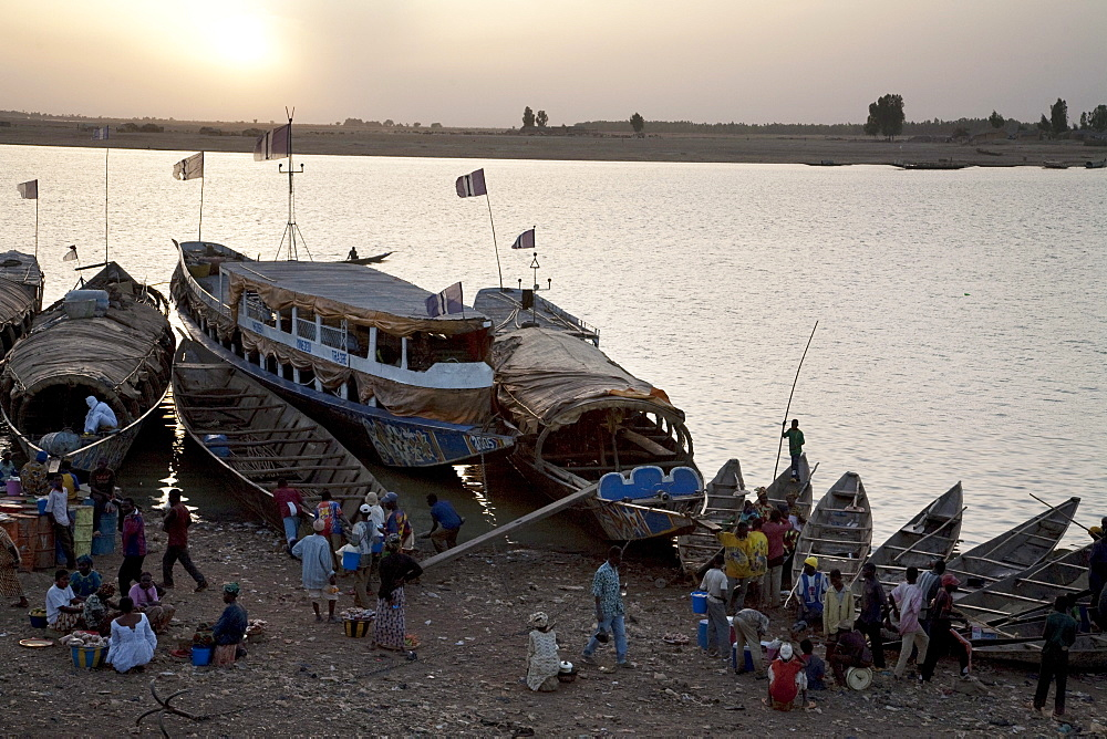 Pinasse Boats on the Niger River in Mopti, Mali