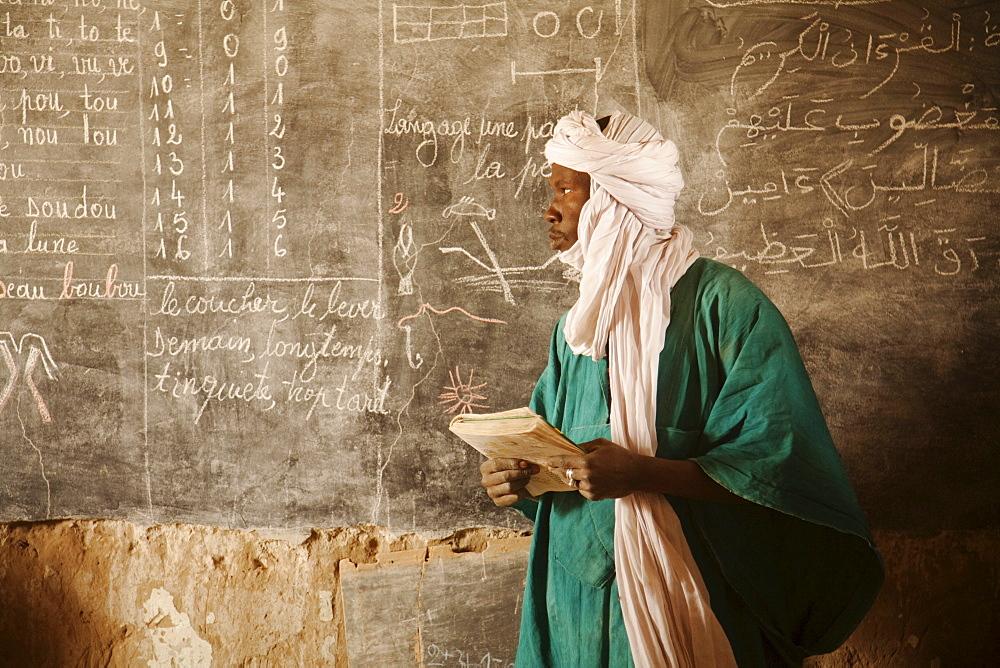Tuareg teacher in a primary school in Tiriken, Mali